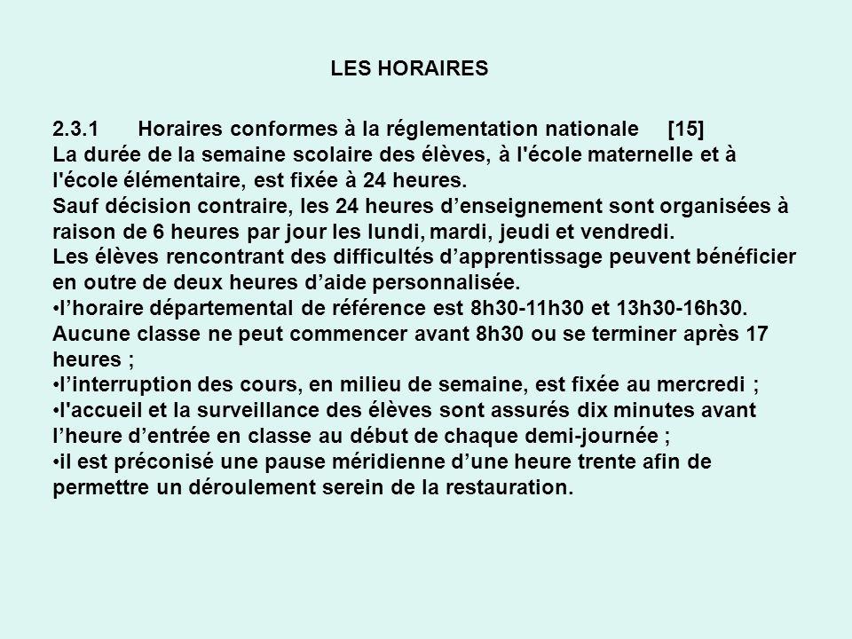 LES HORAIRES 2.3.1 Horaires conformes à la réglementation nationale [15]